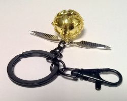 Брелок 3D Harry Potter Golden Snitch (Black chain)